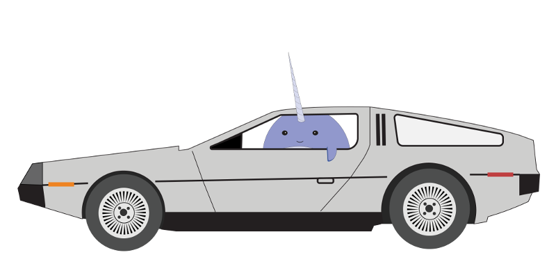 Nellie the Narwhal in the Back to the Future DeLorean